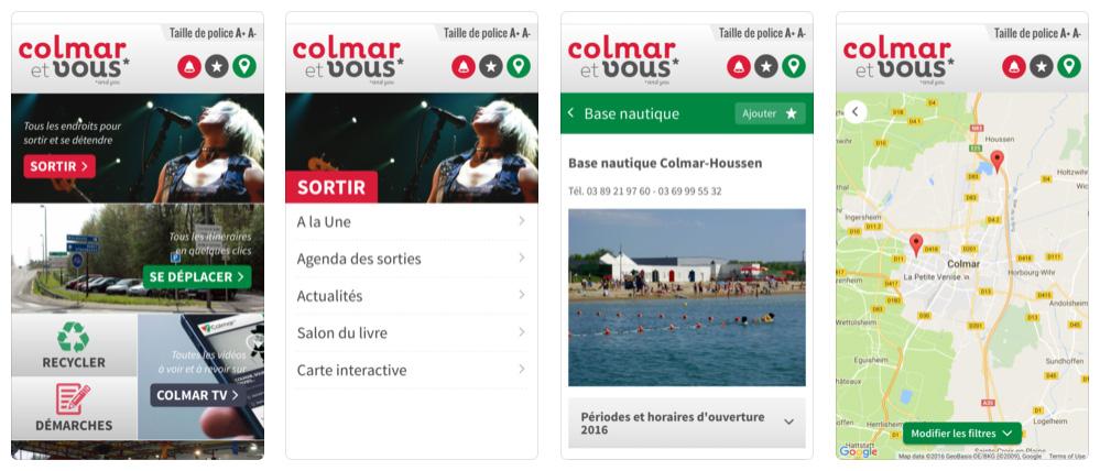 """Captures d'écran de l'application """"Colmar et vous"""""""