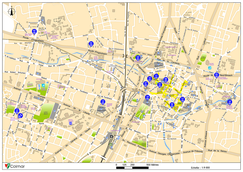 Plan des zones WiFi gratuites à Colmar