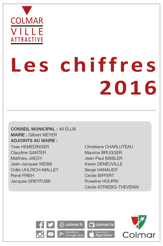 """Première page du fascicule """"Les chiffres clés de Colmar 2016"""""""