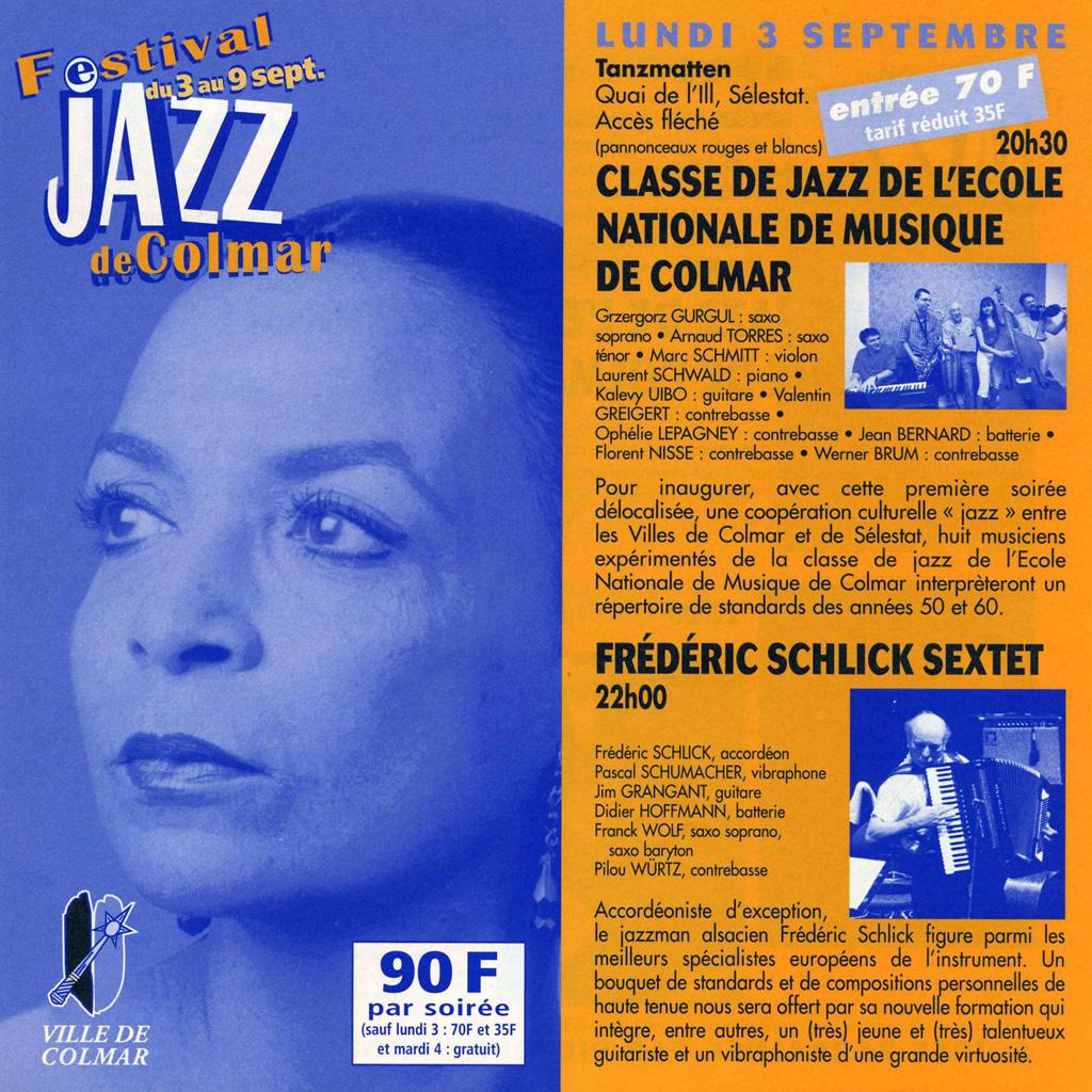 Couverture du programme du Festival de Jazz de Colmar 2001