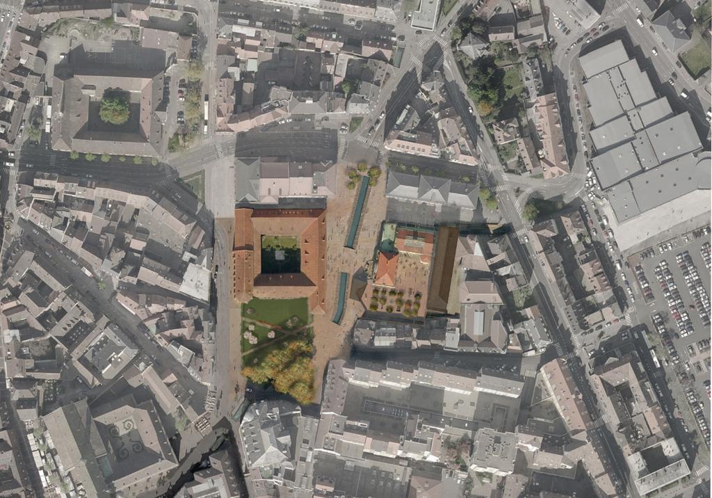 Vue aérienne du musée Unterlinden ©Herzog & De Meuron