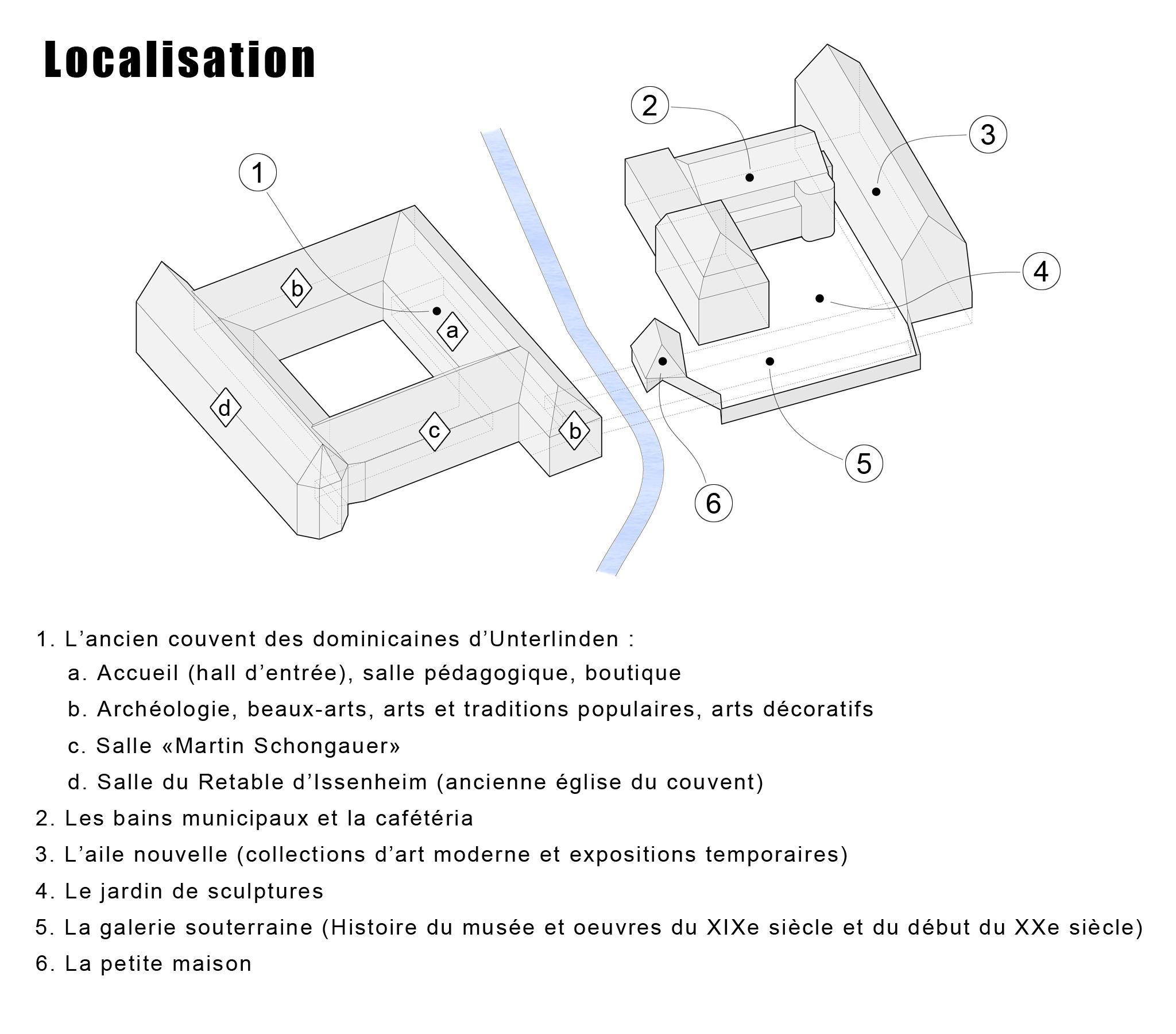 Plan de localisation des différentes parties du musée Unterlinden