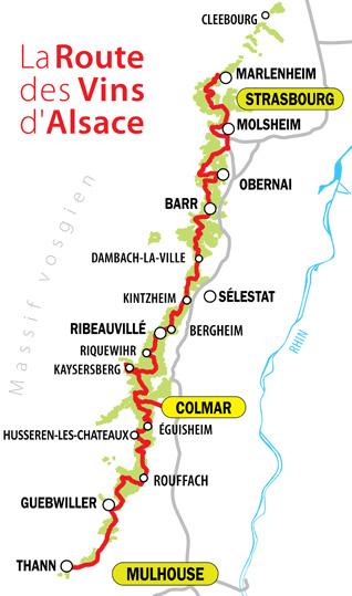 Carte simplifiée de la Route des Vins d'Alsace
