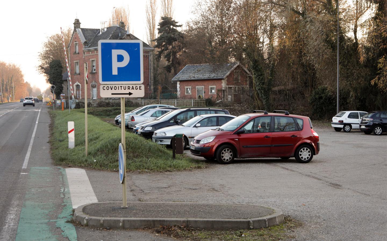 Le parking de covoiturage - route de Bâle à Colmar