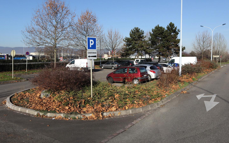 Le parking de covoiturage - route de Strasbourg à Colmar