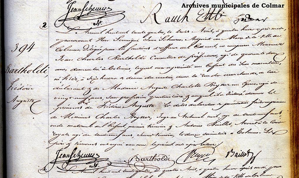 Acte de naissance d'Auguste Bartholdi
