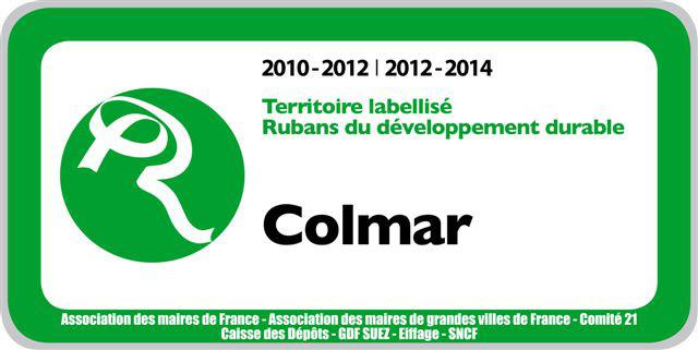Visuel du panneau des rubans du développement durable 2010-2014 de Colmar