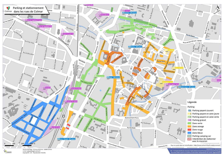 Parking et stationnement dans les rues de Colmar