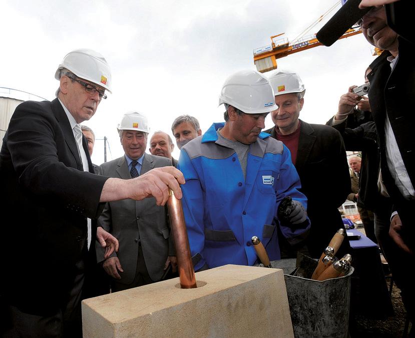 Pose de la première pierre de la chaudière à bois de Colmar