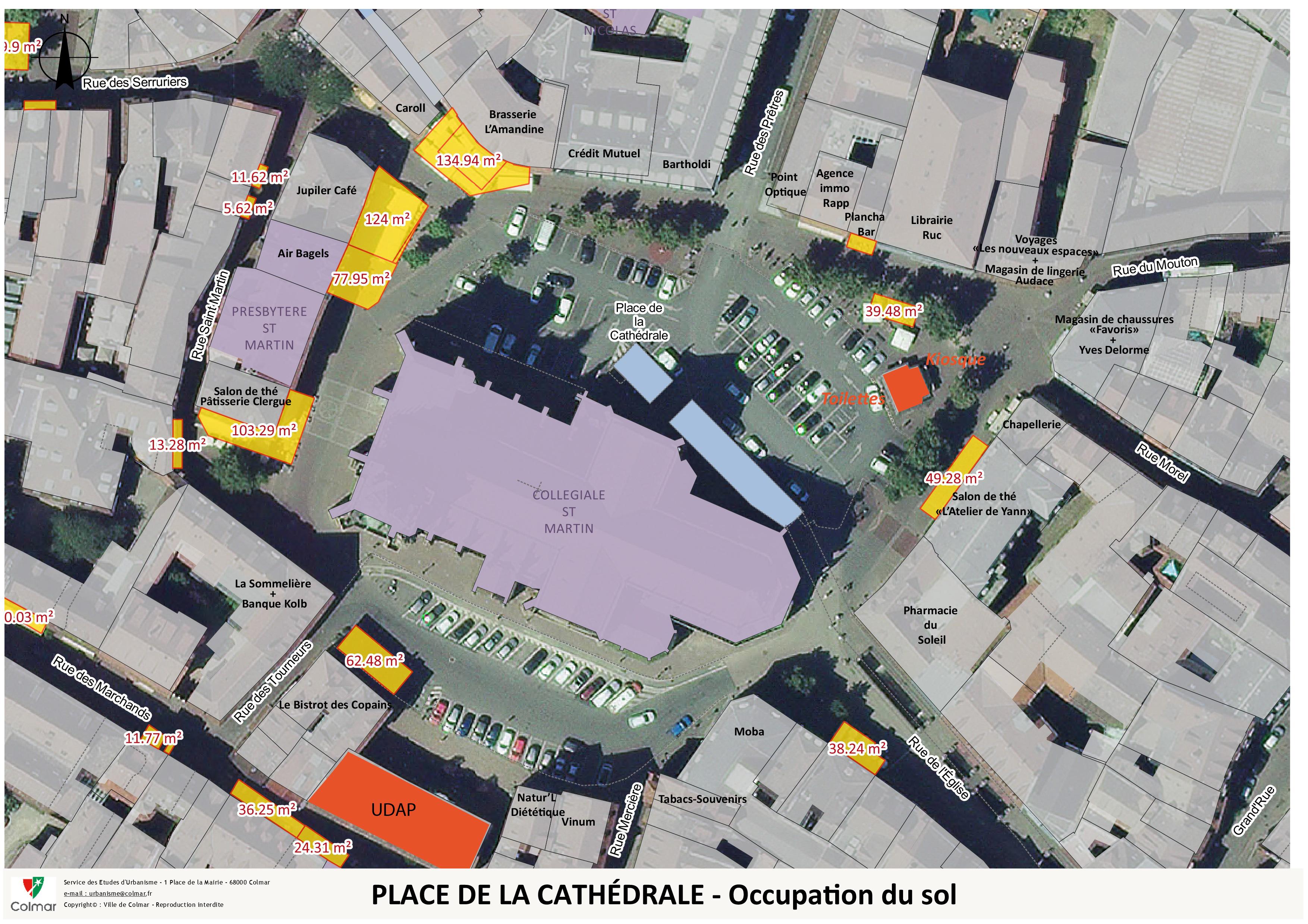 Place de la Cathédrale - occupation du sol