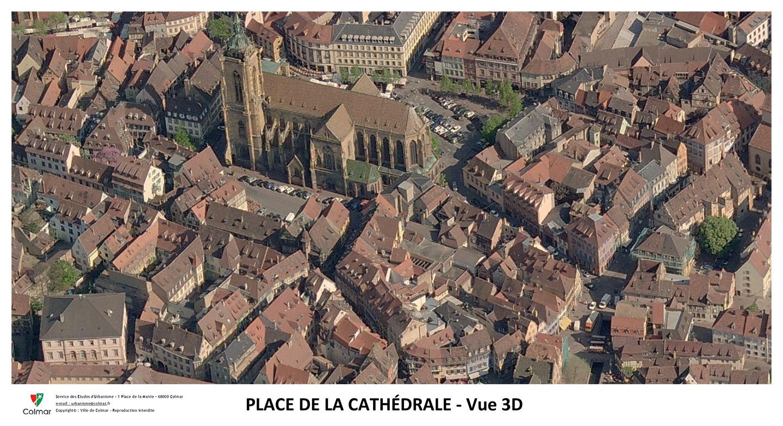 Place de la Cathédrale - vue aérienne